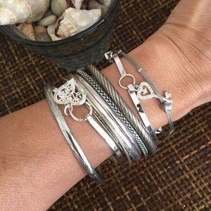 VINTAGE Silver Tone Bangle Bracelets Bundle